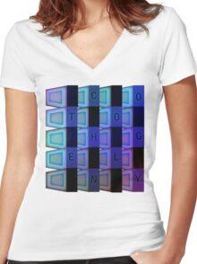 Vaporwave-TECHNOLOGY Women's Fitted V-Neck T-Shirt