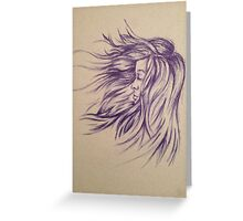 Hair Blowing in the Wind Greeting Card