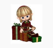 Cute Toon Christmas Elf with Presents Unisex T-Shirt
