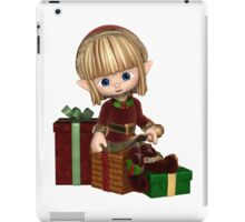 Cute Toon Christmas Elf with Presents iPad Case/Skin