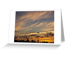 Sunset Crows Gold Greeting Card