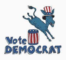 Vote Democrat Donkey Mascot Jumping Over Barrel Cartoon by patrimonio