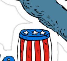 Vote Democrat Donkey Mascot Jumping Over Barrel Cartoon Sticker