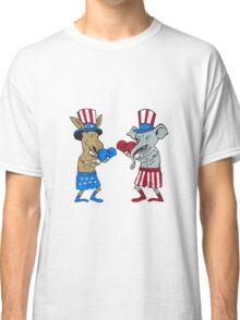 Democrat Donkey Boxer and Republican Elephant Mascot Cartoon Classic T-Shirt