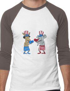 Democrat Donkey Boxer and Republican Elephant Mascot Cartoon Men's Baseball ¾ T-Shirt