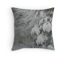 Snow Capped Tree Branches Throw Pillow