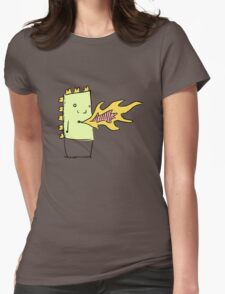 Fire Breathing Box Dragon Womens Fitted T-Shirt