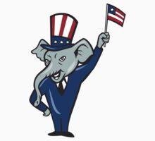 Republican Mascot Elephant Waving US Flag Cartoon by patrimonio