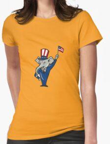 Republican Mascot Elephant Waving US Flag Cartoon T-Shirt