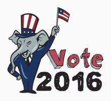 Vote 2016 Republican Mascot Waving Flag Cartoon by patrimonio