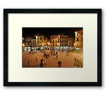 Busy Plaza in Segovia, Spain Framed Print