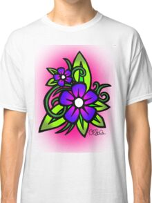 Flowers in Pink and Blue Classic T-Shirt
