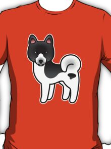 Black Pinto Akita Dog Cartoon T-Shirt