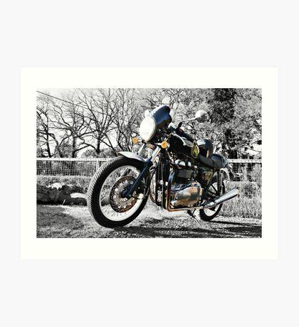 Parked Motorcycle (Monochrome) Art Print