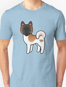 Red Pinto Akita Dog Cartoon T-Shirt