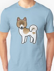 Brown Pinto Akita Dog Cartoon T-Shirt