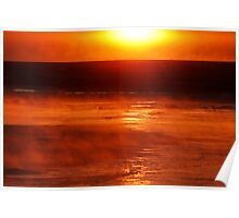 Sunrise steaming cold Poster