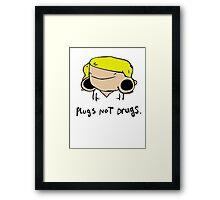plugs not drugs (female)' Framed Print