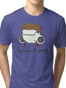 plugs not drugs (male) Tri-blend T-Shirt