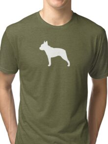 Boston Terrier Silhouette(s) Tri-blend T-Shirt