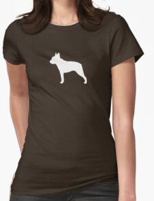 Boston Terrier Silhouette(s) Womens Fitted T-Shirt