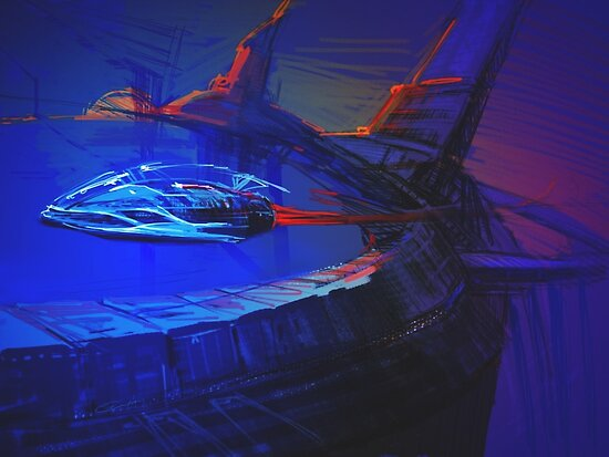 Space Station Sketch by Tom Godfrey