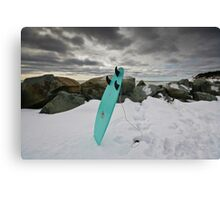 Surfboard in the Snow Canvas Print
