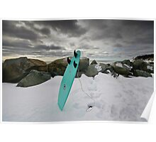 Surfboard in the Snow Poster