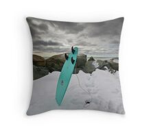 Surfboard in the Snow Throw Pillow
