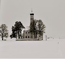 Snowy Landscape with German Church Photographic Print