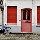 Red Windows and Doors and Blue Bike in Bruges by kweirich