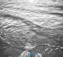 """Peace Walk"" - peace flip flops on beach by ArtThatSmiles"