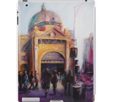 Morning bustle Flinders street Station Melbourne iPad Case/Skin