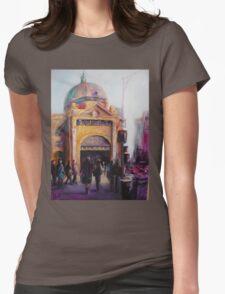 Morning bustle Flinders street Station Melbourne Womens Fitted T-Shirt