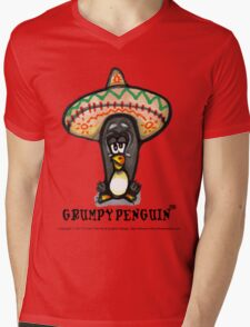 Grumpy Penguin Paco Mens V-Neck T-Shirt
