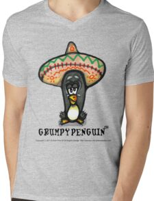 Grumpy Penguin Paco Mens V-Neck T-Shirt