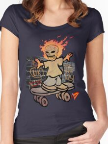 skater skull man tshirt by ian rogers Women's Fitted Scoop T-Shirt