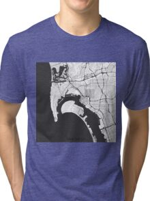 San Diego Map Gray Tri-blend T-Shirt