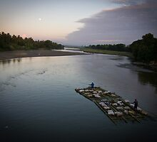 Bamboo boat by moonlight by PhotAsia