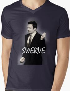 Fallon Swerve White Mens V-Neck T-Shirt