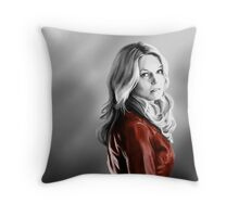 Emma Swan and the Red Leather Jacket Throw Pillow
