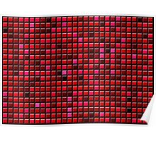abstract red background of convex gradient squares Poster