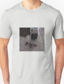 Fawn Pug Sitting on the Tile Floor T-Shirt