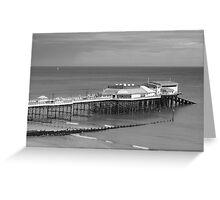 Monochrome Pier at Cromer Greeting Card