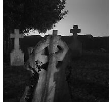Black And White Spooky Grave Yard Photographic Print
