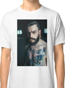 Beard Tattoo Male Portrait Classic T-Shirt