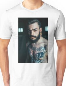 Beard Tattoo Male Portrait Unisex T-Shirt