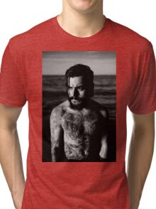 Beard Tattoo Male Portrait Tri-blend T-Shirt