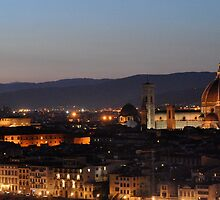 Florence Night Skyline from Piazza Michelangelo by kweirich