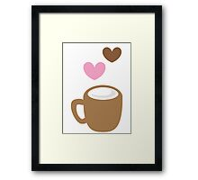 LOVE COFFEE funky retro simple coffee cup with love heart Framed Print